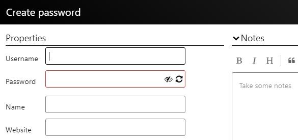 パスワードの登録画面